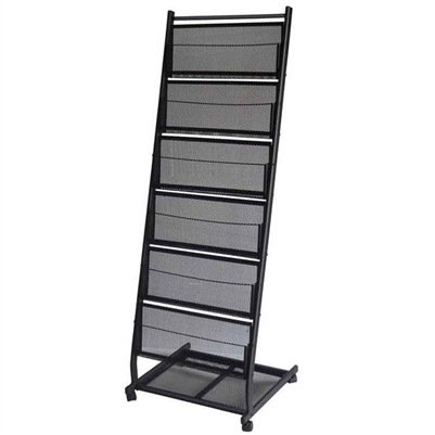 6-Pocket Mobile Stand Magazine Rack - Large