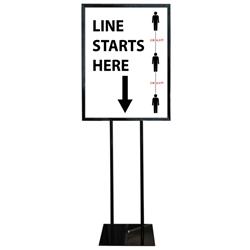 COVID-19 Line Mark Poster Sign Holder Floor Stand