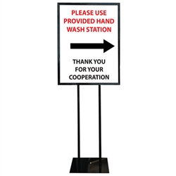 COVID-19 Hand Wash Poster Sign Holder Floor Stand