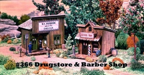 Drug Store & Barber Shop Kit HO scale