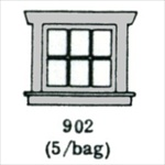 Window (3 over 3) 5 per bag HO scale