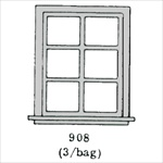 Window 6 pane 3 per bag HO scale