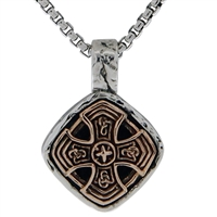 Keith Jack Jewelry Sm Celtic Cross Cushion Pendant S/sil + Bronze BP3498