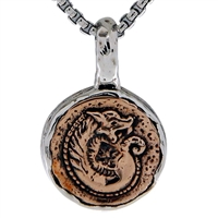Keith Jack Jewelry Petrichor Sm. Dragon Coin Pendant S/sil + Bronze BP3504