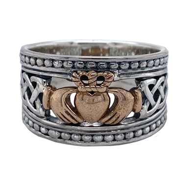 Keith Jack Jewelry Petrichor Sheild Claddagh Ring tapered BR3645