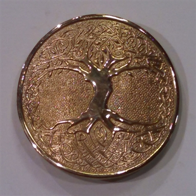 Round Buckle - Tree of Life - Brass