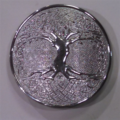 Round Buckle - Tree of Life - Chrome