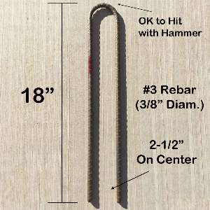 "#3 Steel Rebar Ground Stake J Hook Heavy Duty 12"" Hard Firm Soil Set"