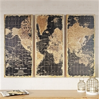 1434 - Stanford World Map Wall Decor (Set of 3)