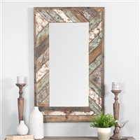 5445 - Brogan Distressed Wood Slat Wall Mirror