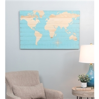 6213 - Mali Blue World Map Wall Plaque