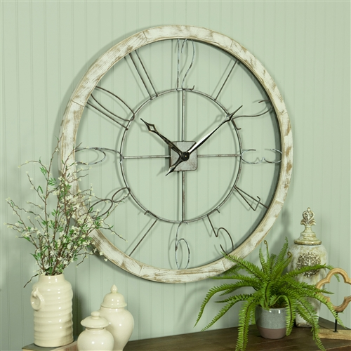 6282 - Penelope Large Iron & Wood Wall Clock