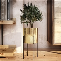"6541 - Lonnie Mid Century Ceramic Planter - Gold 16""H"