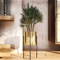 "6602 - Lonnie Mid Century Ceramic Planter - Gold 13""H"