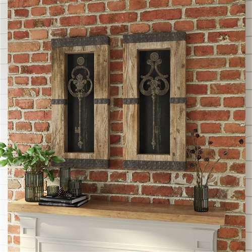 68402 - Antique Key Wood Wall Decor Set of 2