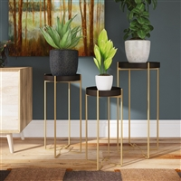 7029 - Heming Black & Gold Accent Tables (Set of 3)
