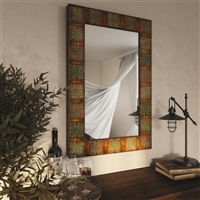 "74361 - 36"" Embossed Metal Frame Wall Mirror"