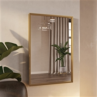 "7555 - Bali Modern Rectangle Wall Mirror - 30"" Gold"