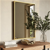 "7562 - Bali Modern Rectangle Wall Mirror - 36"" Gold"