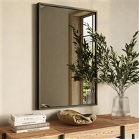 "7586 - Bali Modern Rectangle Wall Mirror - 30"" Gray"