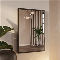 "7593 - Bali Modern Rectangle Wall Mirror - 36"" Gray"