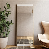 7685 - Lina Modern Floor Mirror Gold with Marble