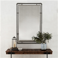 "7715 - Morse Industrial Metal Wall Mirror - 38"" Gray"