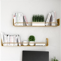 "7722 - Syler Modern Wall Shelf (Set of 2) - 34"" Bronze"
