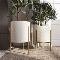 7944 - Gianna Modern White Planters (Set of 2)