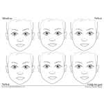 Sally-Ann Lynch Face painting Practice board LARGE 6 Child Faces
