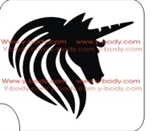 Side View Unicorn Mane and Horn Glitter Tattoo Stencil