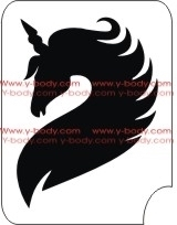 Unicorn Head with full flowing mane for Glitter Tattoo Stencil