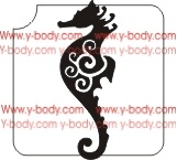 Swirly Seahorse Glitter tattoo stencil, Temporary tattoos, Henna Tattoos, Airbrush Tattoo Stencil,