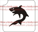 Curved Shark Glitter tattoo stencil, Temporary tattoos, Henna Tattoos, Airbrush Tattoo Stencil,