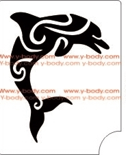 dolphin deco temporary tattoo stencil