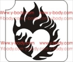 heart fire glitter tattoo stencil