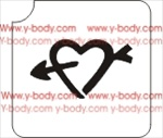 hearts and arrow tattoo stencil for Temporary tattoos, Henna Tattoos, Airbrush Tattoo Stencil, Glitter Tattoos