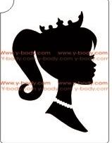 Queen Profile glitter tattoo stencil