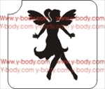 fairy girl with wings glitter tattoo stencil