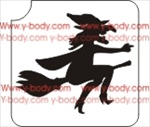 flying witch on broom glitter tattoo stencil
