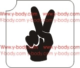 hand peace sign glitter tattoo stencil