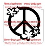 peace sign with flowers Glitter tattoo stencil for Temporary tattoos, Henna Tattoos, Airbrush Tattoo Stencil,