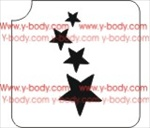 4 stars ranging in size from smallest to biggest, Glitter tattoo stencil, Airbrush Tattoo Stencil, Henna Tattoos Glimmer tattoos