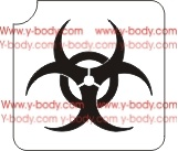 biohazard sign glitter tattoo stencil