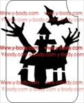 halloween haunted house glitter tattoo stencil