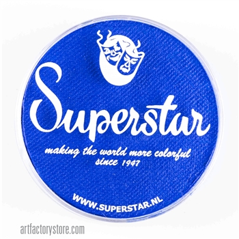 Superstar bright blue, brightest shade of medium blue in a 45 gr jar for face and body painting