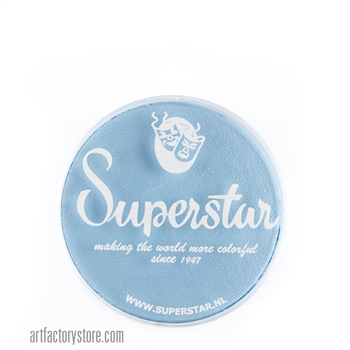 Superstar baby blue shimmer is a soft pale blue in 16 gr jar for face and body painting