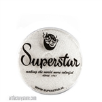 Superstar silver white shimmer wth glitter is a soft white with silver flecks of cosmetic grade glitter in 16 gr jar for face and body painting
