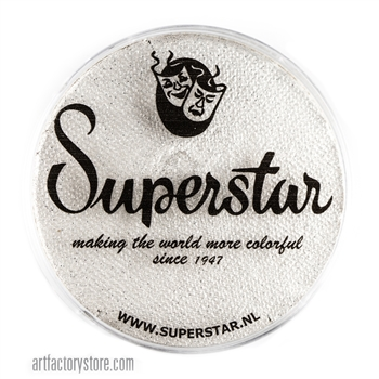 Superstar silver white shimmer glitter is a soft white with silver flecks of cosmetic grade glitter in a 45 gr jar for face and body painting