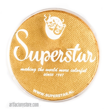 Superstar gold shimmer with glitter is a yellowish gold with flecks of cosmetic grade glitter in 16 gr jar for face and body painting